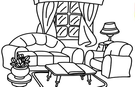 Coloring Living Room by Living Room Printable Coloring Book