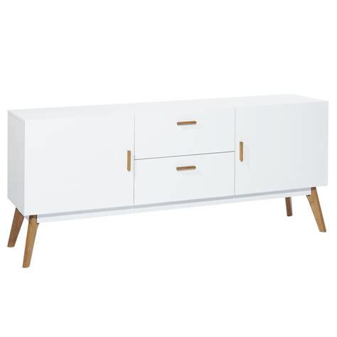 meuble bas de bureau meuble bas chêne et laqué blanc 2 portes 2 tiroirs scandie