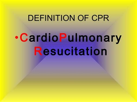 Modified Cpr Definition by Cardio Pulmonary Resucitation By Palatine High School