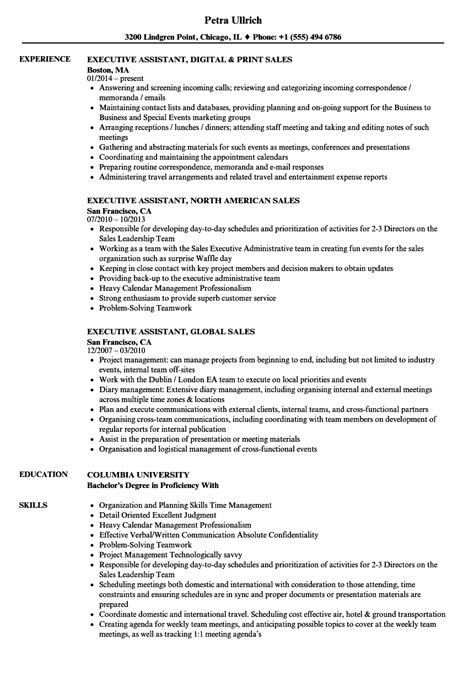 Feel free to use it as a blueprint, modifying the details to only include the job duties and requirements you need. Executive Assistant Resume Sales Executive Assistant Resume Samples Velvet Jobs - wikiresume.com