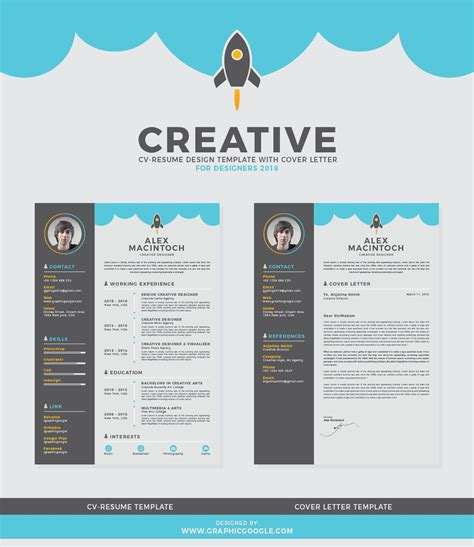 Designers Cv Template by Free Creative Cv Resume Design Template With Cover Letter