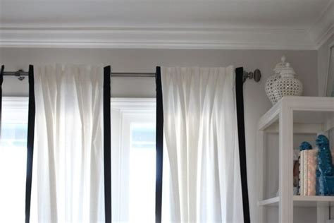 ikea ritva drapes trimmed with thick grosgrain ribbon diy