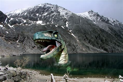 dinosaur coming    lake  mountain