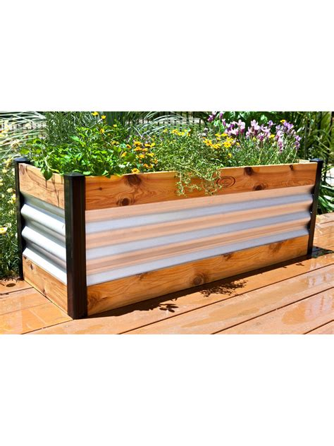 Corrugated Metal Garden Beds by Corrugated Metal And Wood Raised Bed Garden Beds