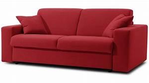 Canapé convertible microfibre rouge 3 places lit 140 cm pas cher Convertible rapido