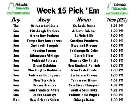 NFL Pick Em Week 15   Pro Football Pick Em Week 15