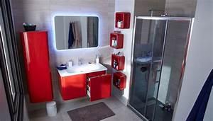 Meuble haut salle de bain rouge for Salle de bain design avec meuble salle de bain 60 cm castorama