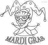 Mardi Gras Coloring Jester Pages Printable sketch template