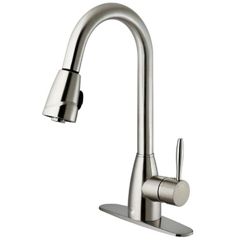 kitchen faucet stainless steel shop vigo graham stainless steel 1 handle deck mount pull down kitchen faucet at lowes com