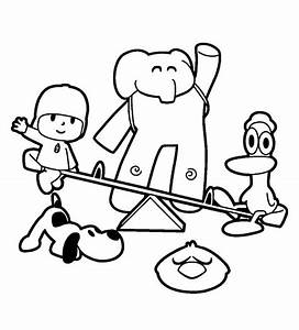 Pocoyo and Best Friends Playing at Park Coloring Pages ...