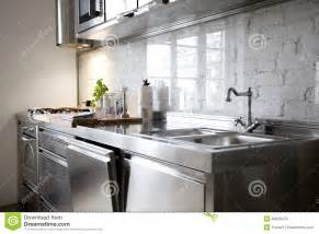All Metal Kitchen Faucet Modern Kitchen With Stainless Steel Appliances Stock Photos Image 34826473