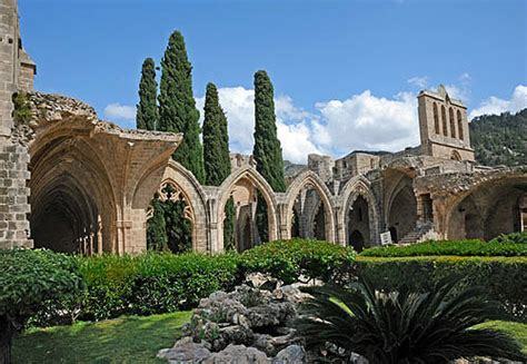 Bellapais Abbey, 1198-1205, cloisters seen from the west ...