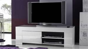 Meuble Tv Design Blanc Laqué : meuble tv design laqu blanc brillant konrad 140 cm gdegdesign ~ Teatrodelosmanantiales.com Idées de Décoration