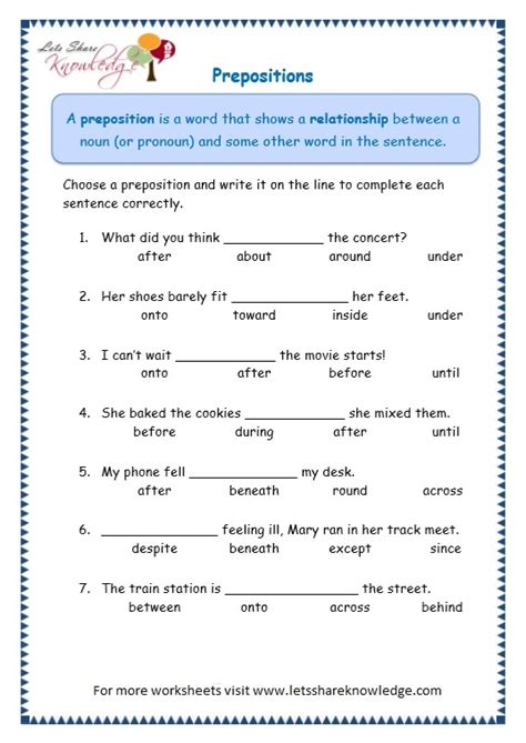 grade 3 grammar topic 17 prepositions worksheets lets