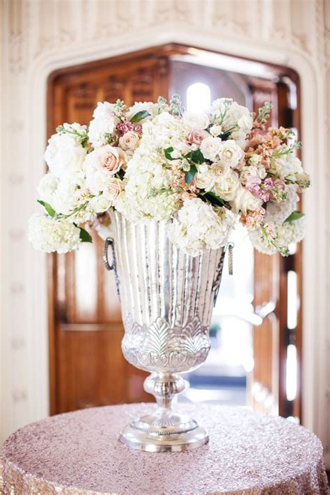 Mercury Vases Wedding - hydrangeas and roses in large mercury glass vase