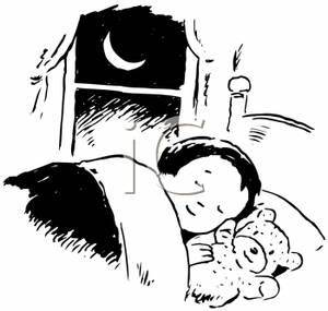 Clip Art Image: Black and White Girl Sleeping with Her ...