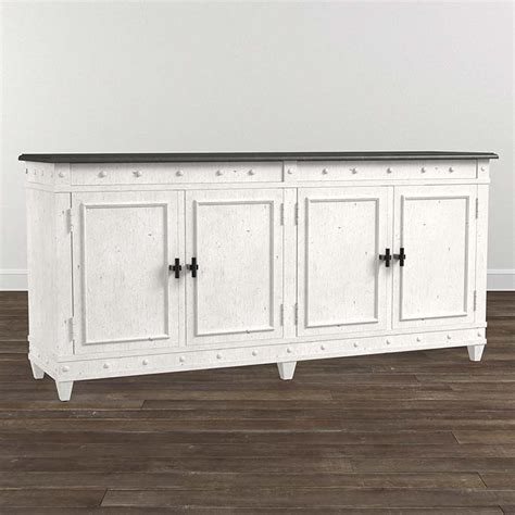 72 Inch Sideboard by 72 Inch Buffet In Aged Whitestone With Top