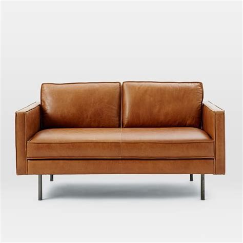 west elm leather axel leather loveseat west elm for the home