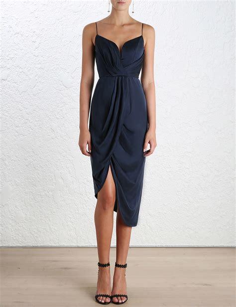 zimmerman silk drape dress lyst zimmermann draped silk dress in blue