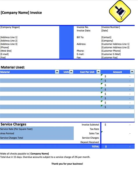 How To Create Template In Php by Painting Invoice Template 171 Free Blank Invoice