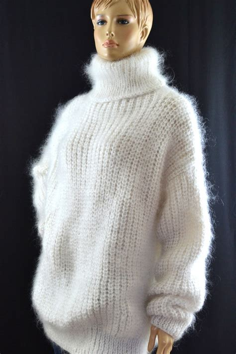 mohair sweater mohair turtleneck sweater white xl