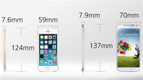 iphone 5s dimensions inches iphone 5s vs galaxy s4