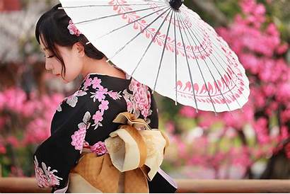 Kimono Umbrella Asian Wallpapers Desktop Female Woman