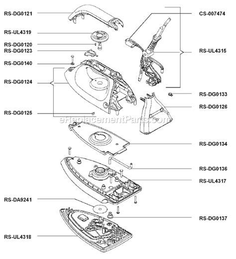 rowenta steam iron parts rowenta dg580 parts list and diagram ereplacementparts com