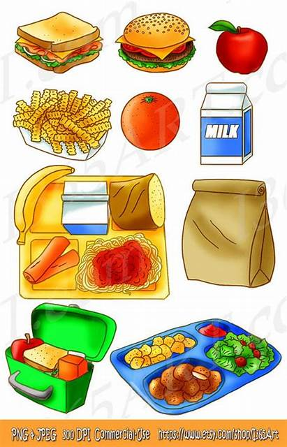 Lunch Clipart Tray Bag Snack Brown Sandwich