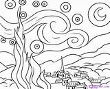 Night Starry Coloring Popular sketch template