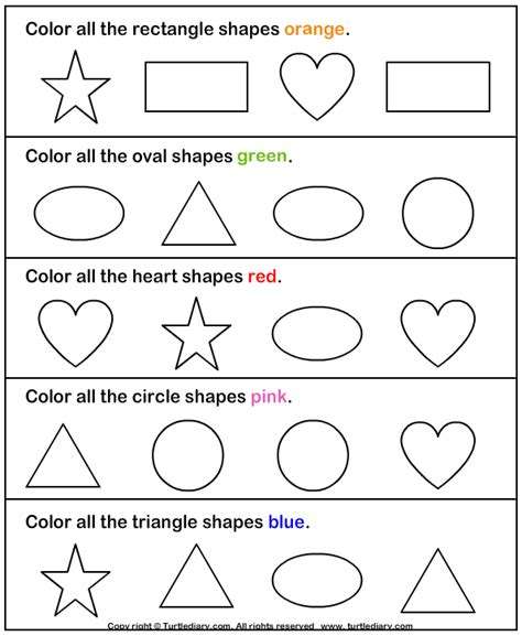 shapes and colors in coloring pages