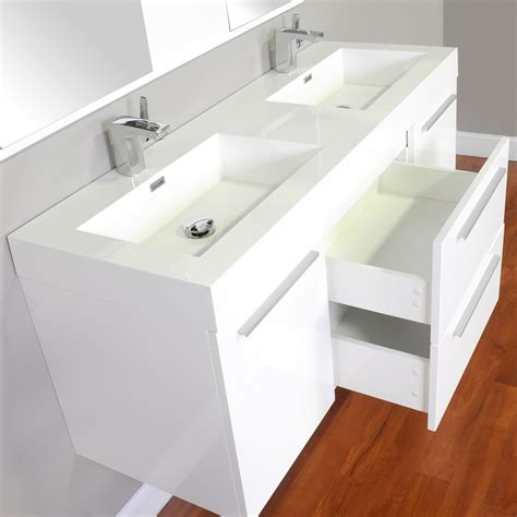 alya     double modern bathroom vanity white