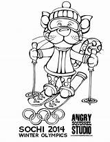 Coloring Pages Winter Olympics Games Colouring Sports Leopard Skiing sketch template