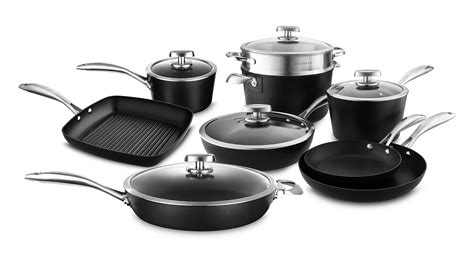 scanpan pro iq cookware set  piece ceramic titanium nonstick cutlery