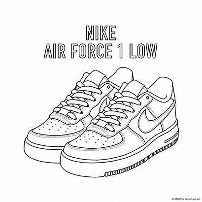 Coloring Nike Force Air Shoe Printable Line