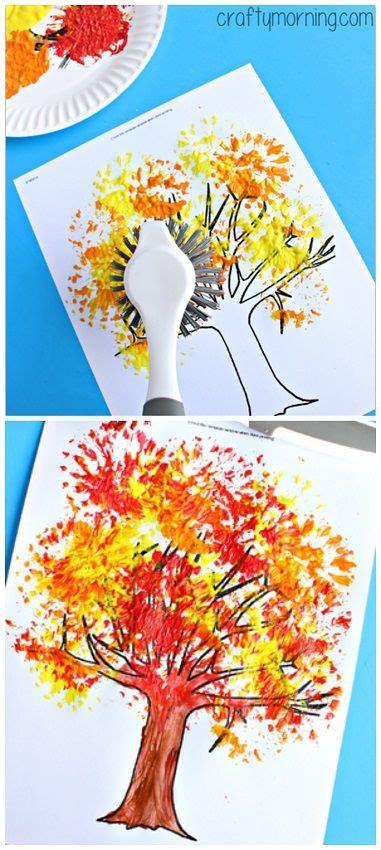 fall tree craft using a dish brush fall craft for 288 | f7efa6563305066855fb06d9847356e2