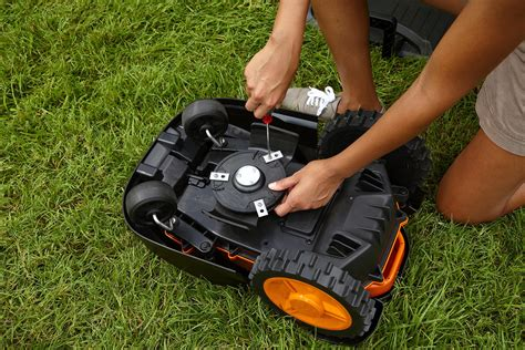 robot lawn mower worx landroid robotic lawn mower 28 volt wg794 patio lawn garden