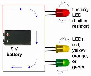 Schematic Of A Flashing Led In Series With Two Steady Leds