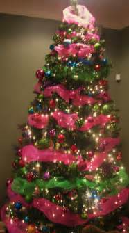 christmas tree decorations blue and pink