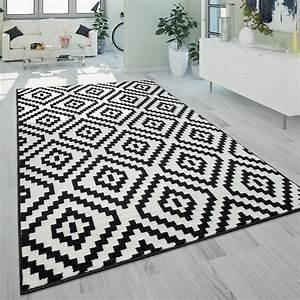 Teppich Schwarz Weiß : kurzflor teppich ethno muster schwarz wei ~ A.2002-acura-tl-radio.info Haus und Dekorationen