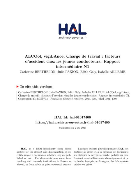 alcool conducteur pdf alcool vigilance charge de travail facteurs d chez les jeunes conducteurs