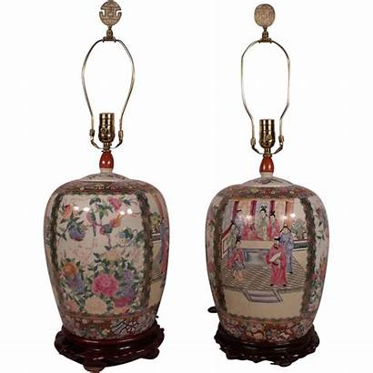Chinese 19th Century Antique Pair Urns Lamps