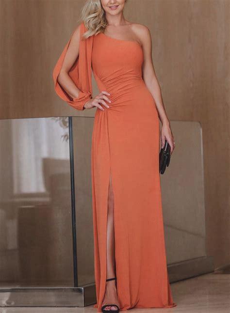 solid color maxi dresses one shoulder slit solid color maxi dress roawe
