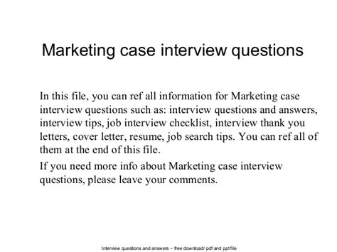 interview case marketing case interview questions
