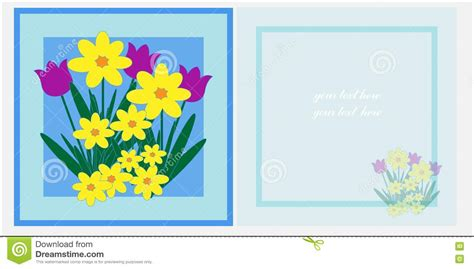 spring flowers  card template stock illustration
