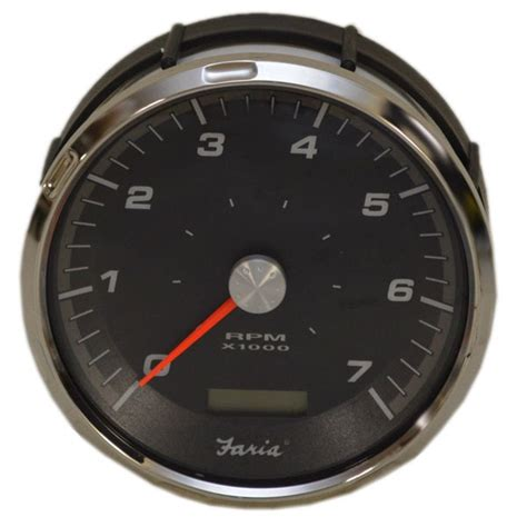 faria thc616a silver black gray oversized boat tachometer w hour meter ebay