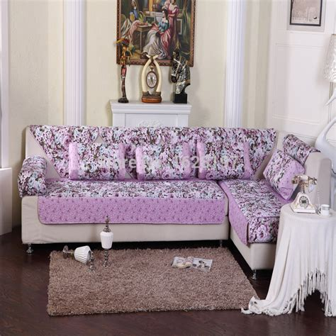 Purple Lavender Flower Sofa Cover Colorful Soft Sectional