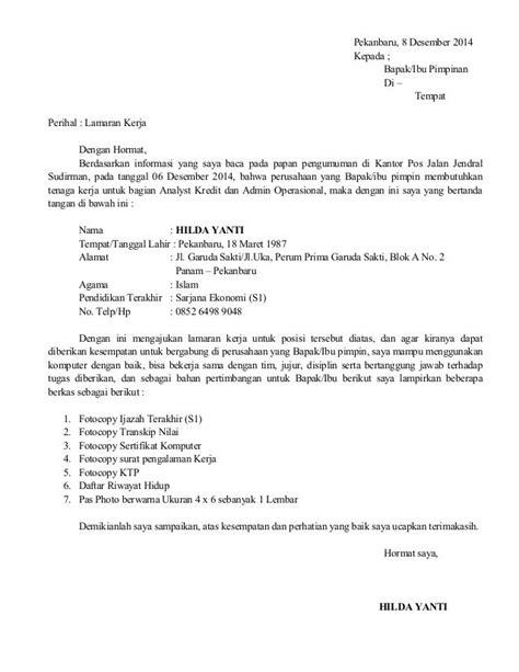 Surat Lamaran Pekerjaan Docx by Surat Lamaran Kerja Kantor Pos Contoh Lamaran Kerja Dan