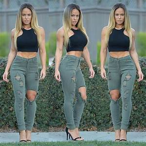 Jeans khaki ripped top ripped jeans crop-top - Wheretoget