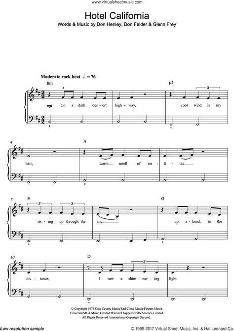 Find and print professionally arranged piano sheet music for beginner/level 1 through easy/level 5 piano. Eagles - Hotel California sheet music for piano solo ...